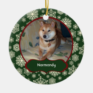 Forest Green Snowflakes Personalized Photo Round Double-Sided Ceramic Round Christmas Ornament