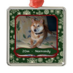 Forest Green Snowflakes Personalized Photo Square Christmas Ornaments