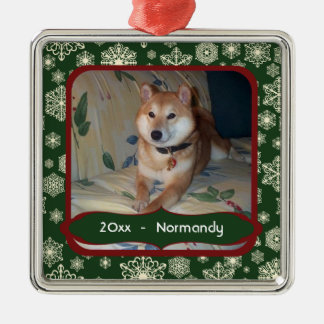Forest Green Snowflakes Personalized Photo Square Square Metal Christmas Ornament