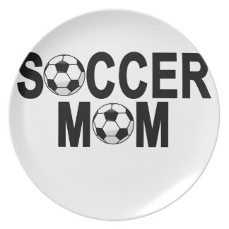 Forest green SOCCER MOM football mother T-Shirts.p Dinner Plate