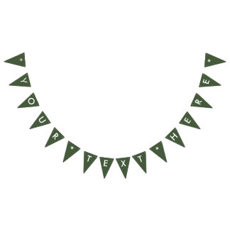 Forest Green Solid Color Customize It Bunting Flags