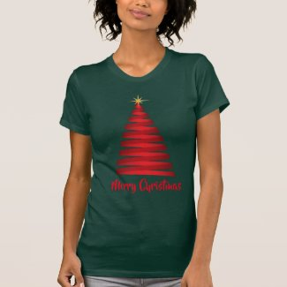 Forest Green T-Shirt with Red Christmas Tree