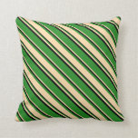 [ Thumbnail: Forest Green, Tan, and Black Colored Lines Pillow ]