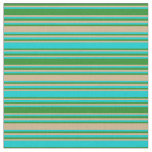 [ Thumbnail: Forest Green, Tan, and Dark Turquoise Lines Fabric ]