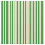 [ Thumbnail: Forest Green & Tan Colored Striped/Lined Pattern Fabric ]
