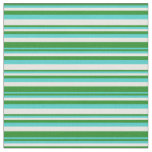 [ Thumbnail: Forest Green, Turquoise & White Stripes Fabric ]