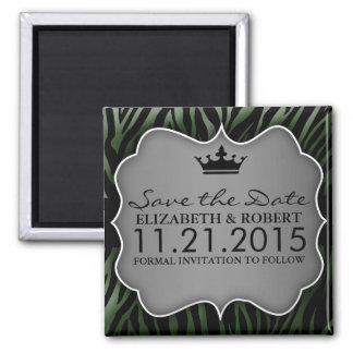 Forest Green Untamed Zebra Print Save the Date 2 Inch Square Magnet