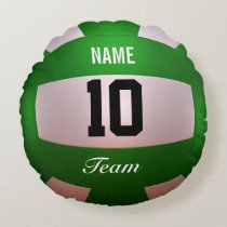 Forest Green Volleyball Round Pillow