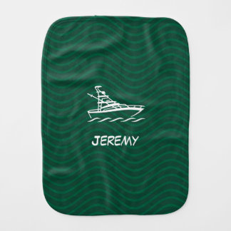 Forest Green Wavy Lines Boat Baby Burp Cloth