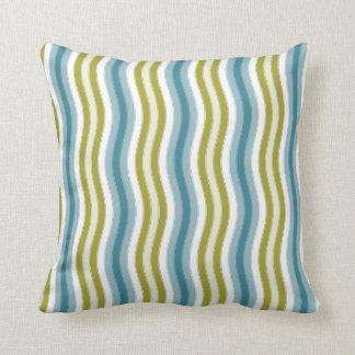 Forest Green Wavy Stripes. Throw Pillow