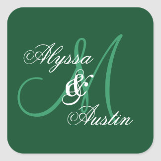 Forest Green Wedding Custom Monogram A26 Square Sticker