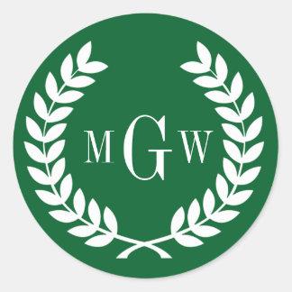 Forest Green Wheat Laurel Wreath Monogram Env Seal Round Sticker
