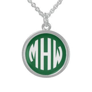 Forest Green White 3 Initials in a Circle Monogram Personalized Necklace