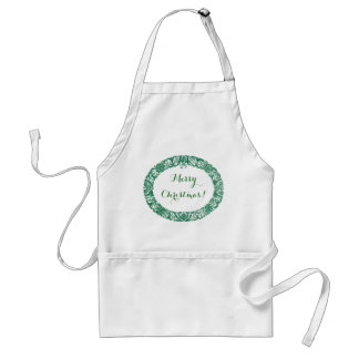 Forest Green White Christmas Wreath to Customize Adult Apron