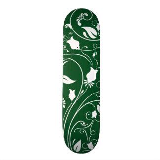 Forest Green, White Floral Swirls; Flowers Skate Board Decks