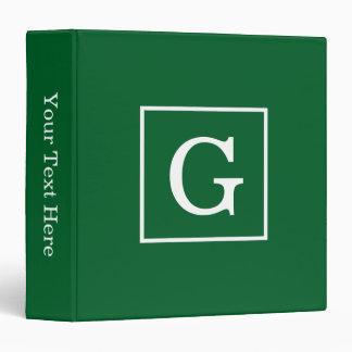 Forest Green White Framed Initial Monogram 3 Ring Binder