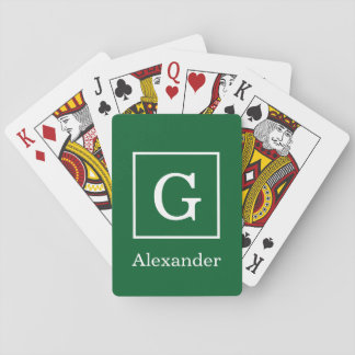 Forest Green White Framed Initial Monogram Playing Cards