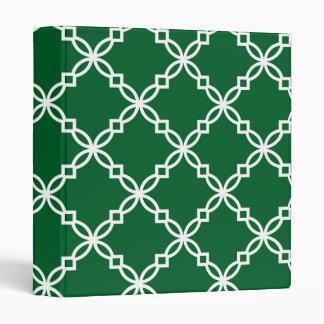 Forest Green White Large Fancy Quatrefoil Pattern Binder