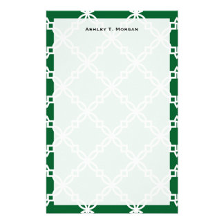 Forest Green White Large Fancy Quatrefoil Pattern Stationery