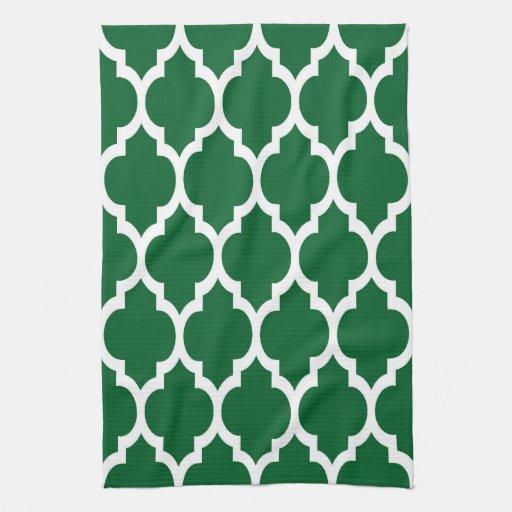 Forest Green, White Moroccan Quatrefoil Pattern #4 Hand