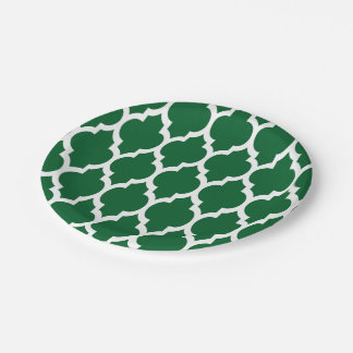 Forest Green, White Moroccan Quatrefoil Pattern #4 Paper Plate