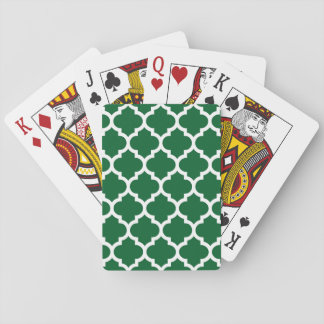 Forest Green White Moroccan Quatrefoil Pattern #5 Poker Cards