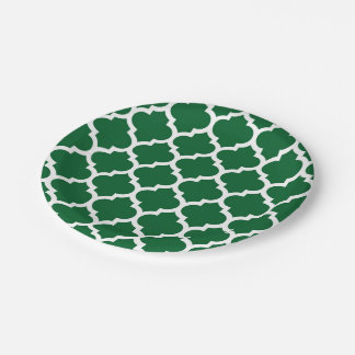 Forest Green White Moroccan Quatrefoil Pattern #5 Paper Plate