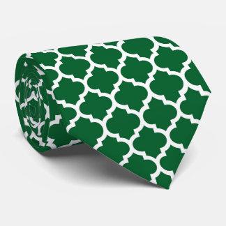Forest Green White Moroccan Quatrefoil Pattern #5 Tie