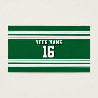 Forest Green White Team Jersey Custom Number Name Business Card