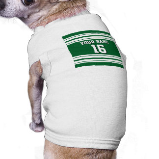Forest Green White Team Jersey Custom Number Name Dog Tee Shirt