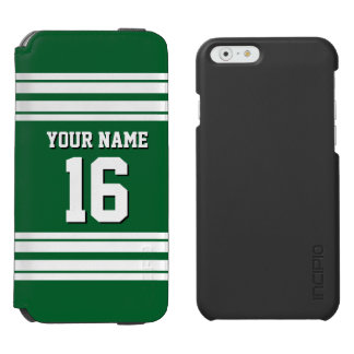 Forest Green White Team Jersey Custom Number Name iPhone 6/6s Wallet Case