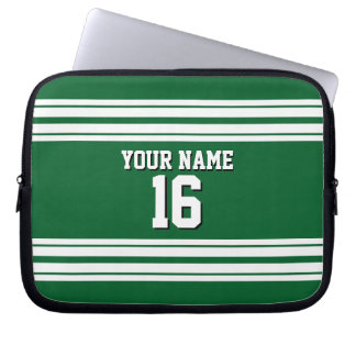 Forest Green White Team Jersey Custom Number Name Laptop Sleeve