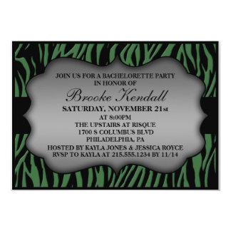 Forest Green Wild Night Zebra Bachelorette Party 5x7 Paper Invitation Card