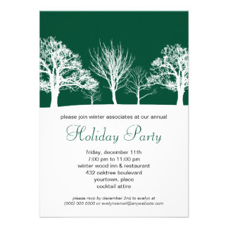 Forest Green Winter Wood Corporate Holiday Party Invitation