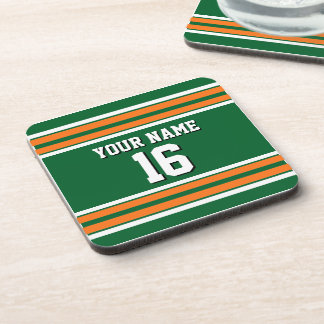 Forest Green with Orange White Stripes Team Jersey Coaster
