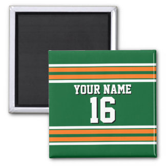 Forest Green with Orange White Stripes Team Jersey Magnet