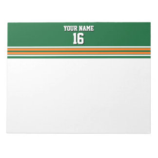 Forest Green with Orange White Stripes Team Jersey Notepad