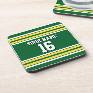 Forest Green with Yellow White Stripes Team Jersey Beverage Coaster