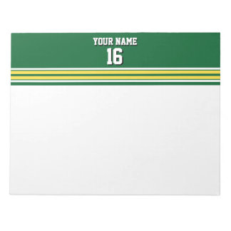 Forest Green with Yellow White Stripes Team Jersey Notepad