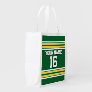 Forest Green with Yellow White Stripes Team Jersey Reusable Grocery Bag