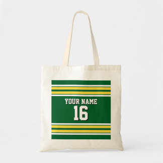 Forest Green with Yellow White Stripes Team Jersey Tote Bag