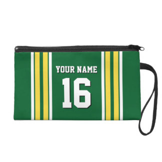 Forest Green with Yellow White Stripes Team Jersey Wristlet