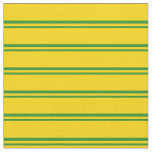 [ Thumbnail: Forest Green & Yellow Lines Pattern Fabric ]