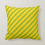 [ Thumbnail: Forest Green & Yellow Lines Pattern Throw Pillow ]