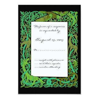 Forest Greens Celtic Animals Design Wedding RSVP 3.5x5 Paper Invitation Card