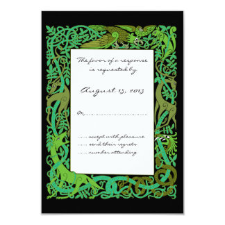 Forest Greens Celtic Animals Design Wedding RSVP Card