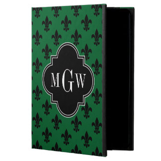 Forest Grn Blk Fleur de Lis Black 3 Init Monogram Powis iPad Air 2 Case