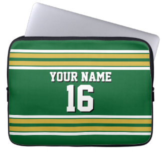 Forest Grn Gold Wht Team Jersey Custom Number Name Computer Sleeve