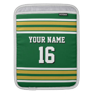 Forest Grn Gold Wht Team Jersey Custom Number Name iPad Sleeve