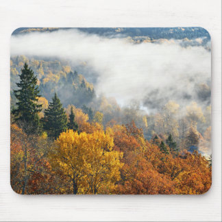 Forest Hills Covered With Mist In Sigulda Mouse Pad